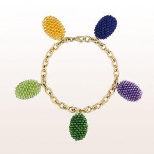 Armband mit rosa Koralle, Aquamarin und einer 18kt Weißgold Stabschließe