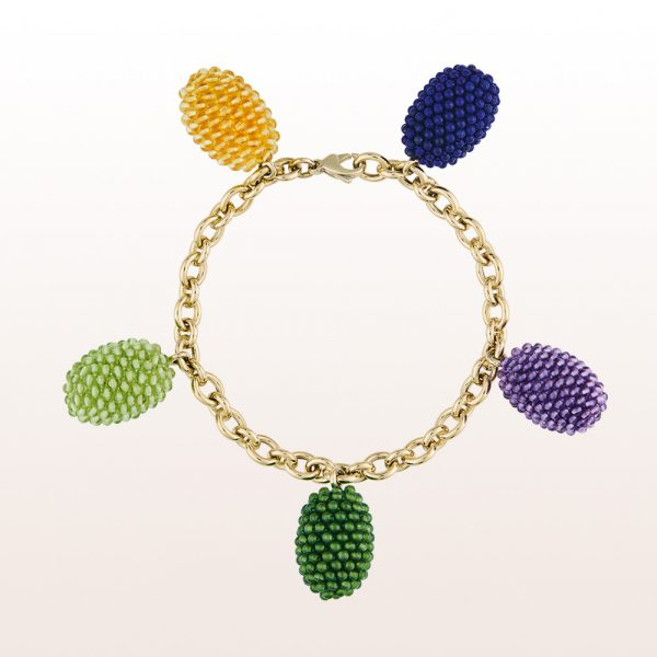Bracelet with coccinella olives of lapis lazuli, citrine, amethyst, jade and peridote on non-plated 18kt white gold