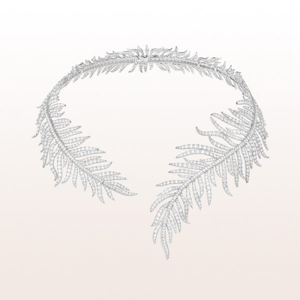 Feather-necklace with brilliant cut diamonds 50,62ct in 18kt white gold