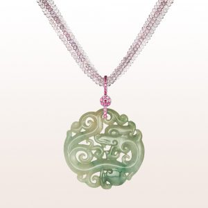 Pendant with green Jade and pink sapphire 0,52ct on a necklace with pink tourmaline, purple spinel, brilliant cut diamonds and an 18kt white gold brilliant clasp