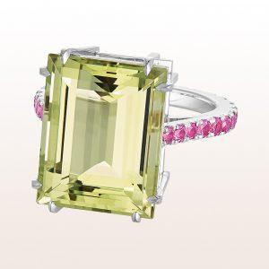 Ring mit grünem Beryll 12,93ct und rosa Saphire 1,45ct in 18kt Weißgold