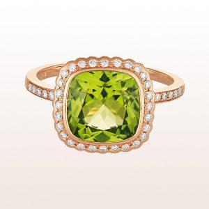 Ring mit Peridot 3,04ct und Brillanten 0,20ct in 18kt Roségold