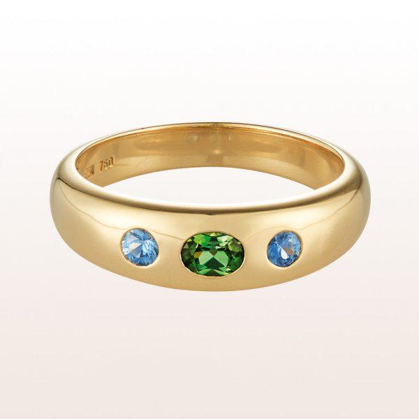 Alliancering mit grünem Turmalin 0,21ct und Saphiren 0,15ct in 18kt Gelbgold