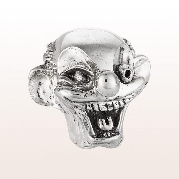 """Paperweight """"Uncle Joe´s Head"""" by artist George Condo with brilliant 0,07ct in 925 sterling silver"""