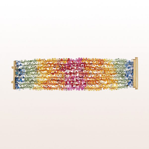 Bracelet with multi-coloured sapphire and an 18kt yellow gold clasp