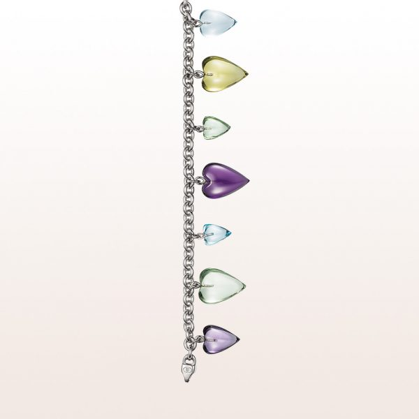 Bracelet with heart out of lemon citrine, amethyst, prasiolite and topaz in 18kt white gold