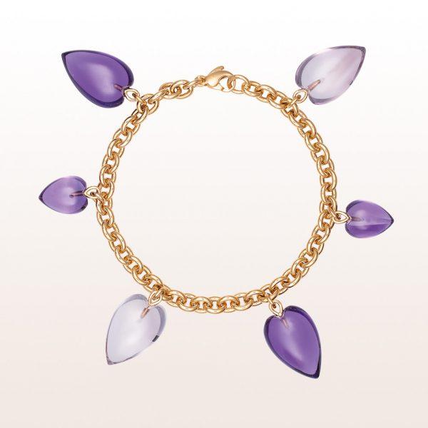 Bracelet with amethyst-hearts in 18kt rose gold