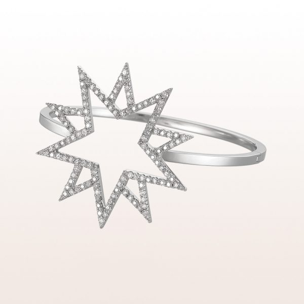 "Bangle ""Erszebeth"" with brilliant cut diamonds 2,88ct in 18kt white gold"