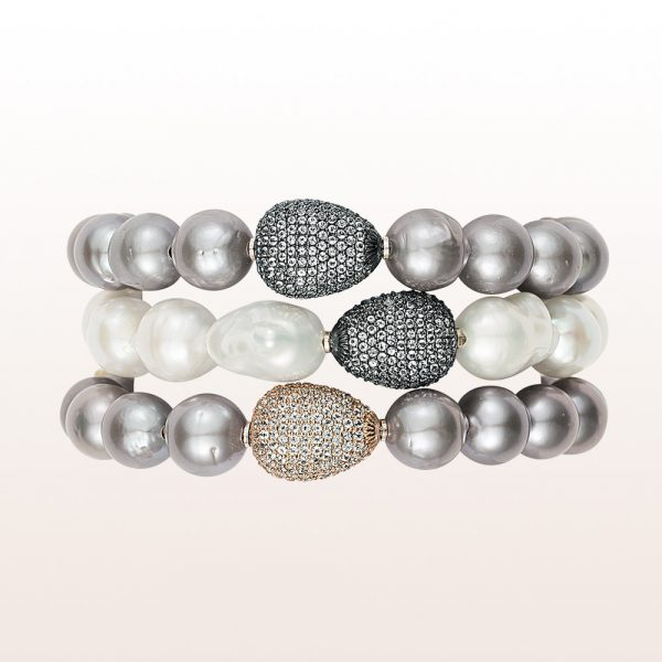 Bracelet with topaz and gray and white freshwater pearls in 18kt wite gold