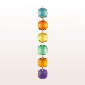Armband mit Amethyst, Beryll, Quarz und Topas in 18kt Gelbgold
