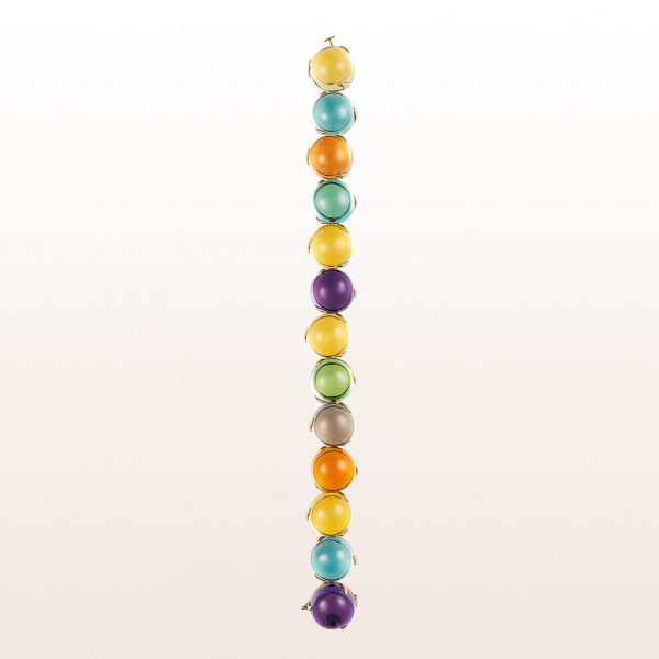 Bracelet with amethyst, beryl, quartz and topaz in 18kt yellow gold