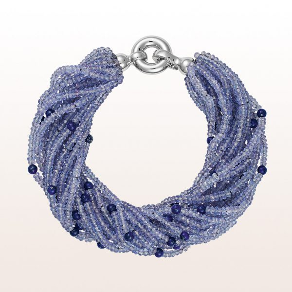 Bracelet with tanzanite, lapis lazuli and an 18kt white gold clasp