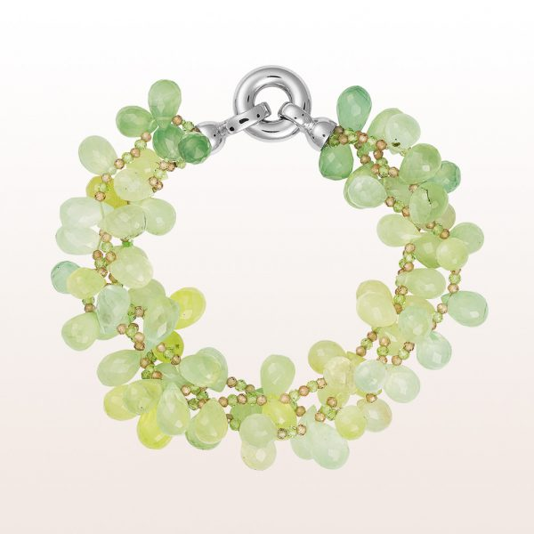 Bracelet with prehnite, peridot, zircon and an 18kt white gold clasp