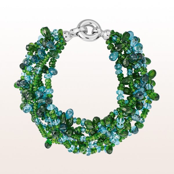 Bracelet diopside, topaz and an 18kt white gold clasp