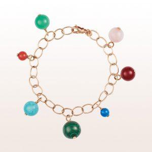 Armband mit diversen Farbsteinen in 18kt Roségold