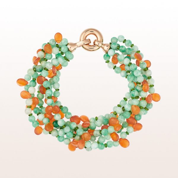 Bracelet with jade, diopside, carnelian and an 18kt rose gold clasp