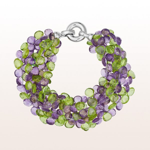 Bracelet with peridot, amethyst and an 18kt white gold clasp