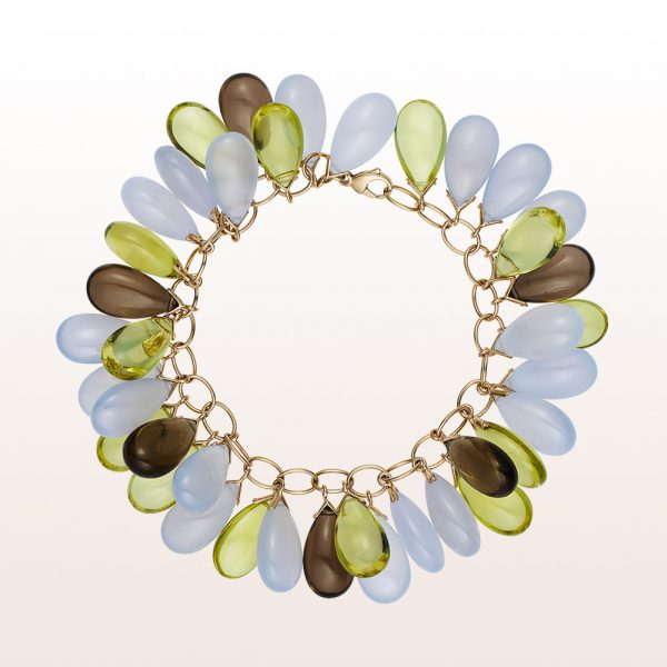 Bracelet with chalcedony, smoky quartz and lemon citrine in non-plated 18kt white gold