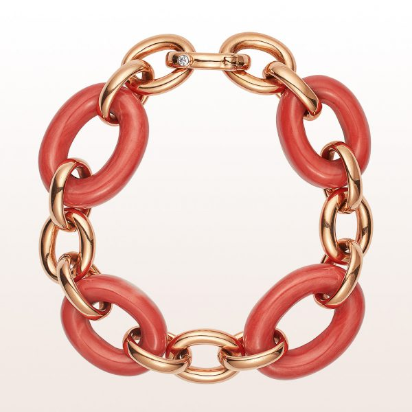 Bracelet coral and brilliant cut diamonds in 18kt rose gold
