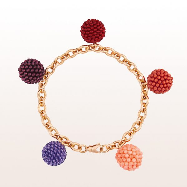 Bracelet with coccinella-spheres out of carnelian, almandine-garnet, amethyst, pink and red coral in 18kt rose gold