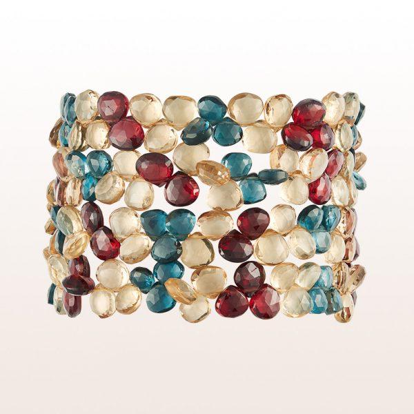 Bracelet with garnet, topaz, smoky quartz and an 18kt rose gold clasp