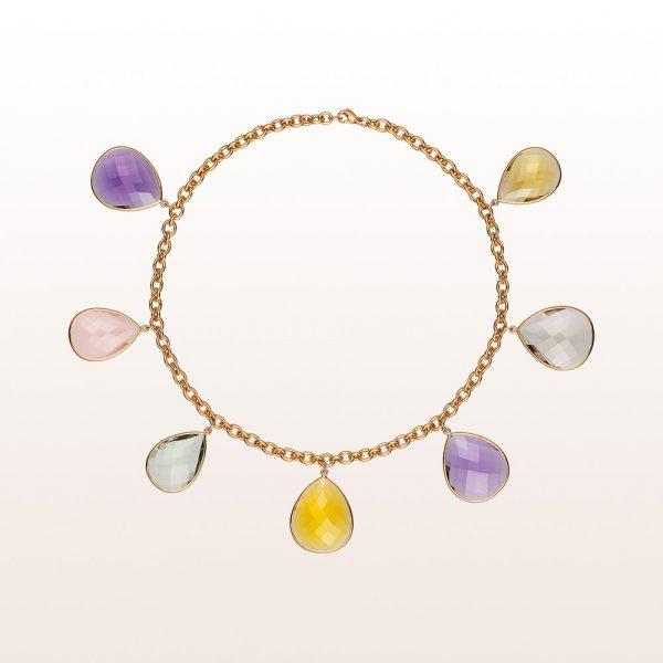 Necklace with amethyst, citrine, rose quartz and smoky quartz