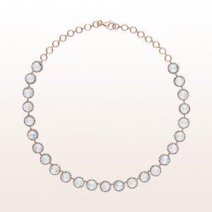 Collier mit Mondsteinen und Diamanten in 18kt Roségold