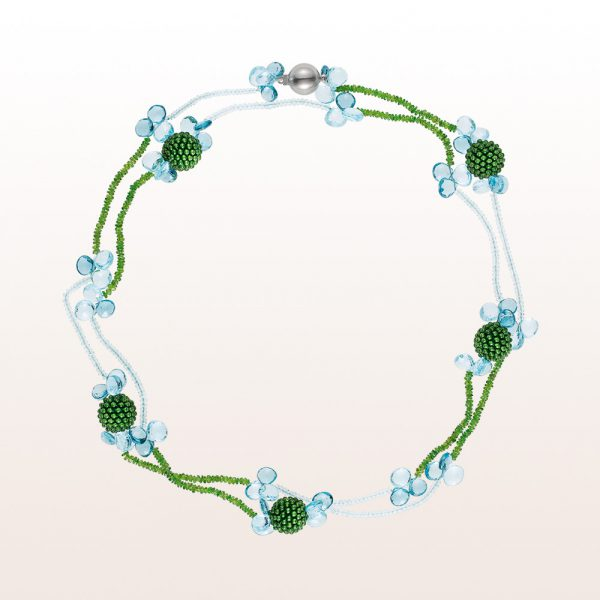 Necklace with jade coccinellas, topaz, aquamarine and diopside in an 18kt white gold clasp