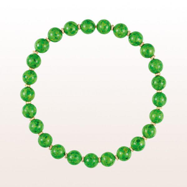 Colliers mit grünen Türkisen und Diamanten in 18kt Gelbgold