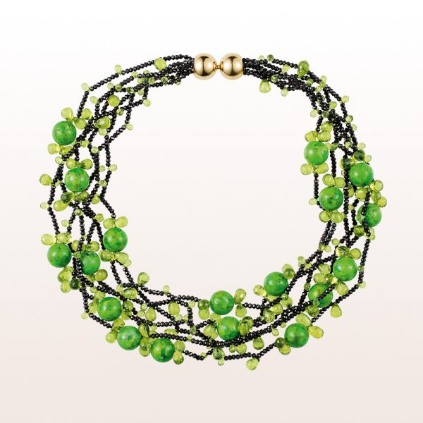Necklace with black spinel, green turquoise, peridot and an 18kt yellow gold clasp