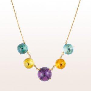 Collier mit Amethyst, Topas, Quarz und Diamanten 0,12ct in 18kt Gelbgold