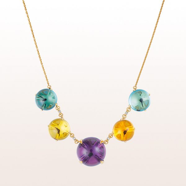Necklace with amethyst, topaz, quartz and brilliant cut diamonds 0,12ct in 18kt yellow gold