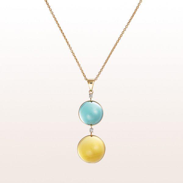 Collier mit Prasiolith, Citrin, Diamant 0,04ct in 18kt Gelbgold