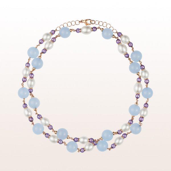 Collier mit Chalzedon, Amethyst und Perlen in 18kt Roségold