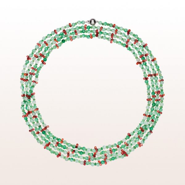 Necklace with jade, tsavorite, orange sapphire and an 18kt white gold clasp