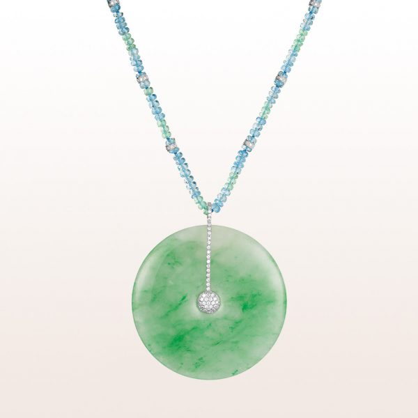 Necklace with emerald and aquamarine with jade pendant and brilliants 0,41ct in 18kt white gold