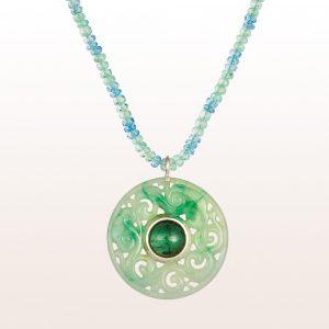 Collier mit Jadeanhänger, grünem Turmalin 6,00ct, Smaragd und Aquamarin in 18kt Weißgold