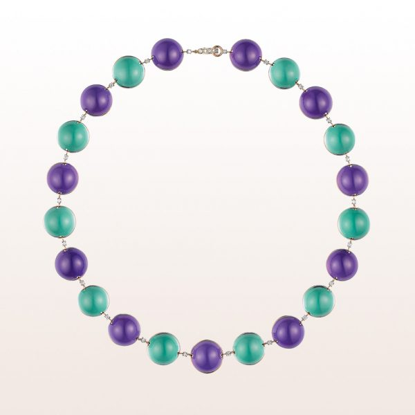 Necklace with amethyst and prasiolith cabochons and brilliant cut diamonds 0,54ct in 18kt yellow gold