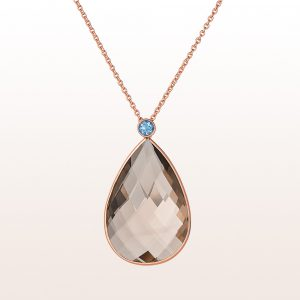 Necklace with smoky quartz-drops 24,45ct and aquamarine 0,22ct in 18kt rose gold
