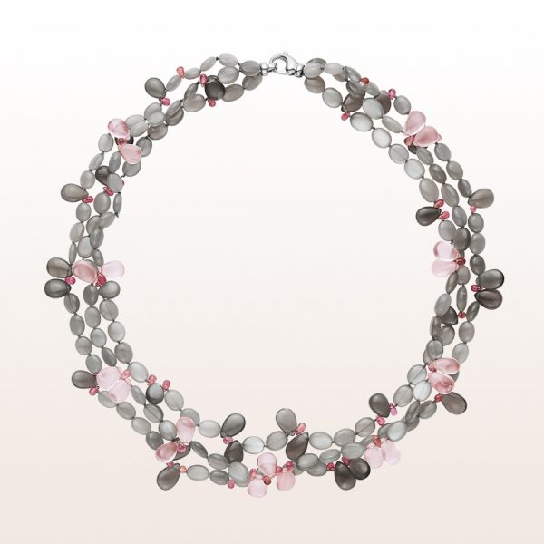 Necklace with grey moonstone, rose quartz, rubellite and an 18kt white gold carabiner