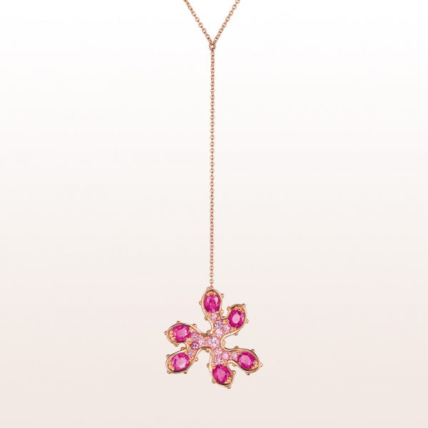 """Necklace """"Chromosomes in love"""" by artist Eva Petrič with pink sapphires 2,64ct in 18kt rose gold"""