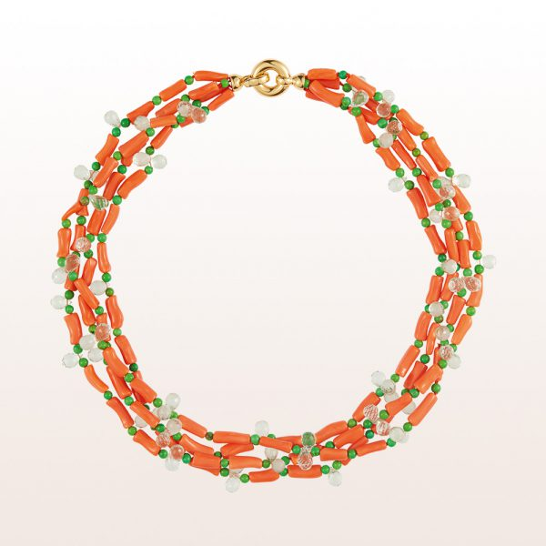 Necklace with orange coral, turquoise, prehnite and an 18kt yellow gold clasp