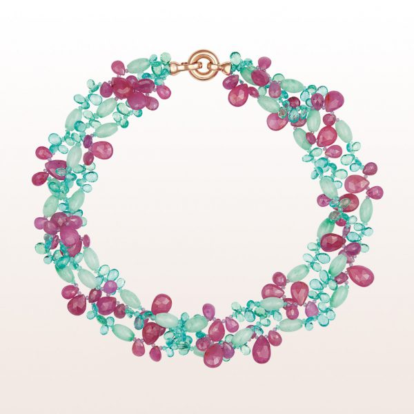 Necklace with apatite, jade, ruby, pink sapphire and an 18kt rose gold clasp