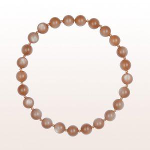 Collier mit braunen Mondsteinen, braune Brillanten und einer 18kt Roségold Steckschließe