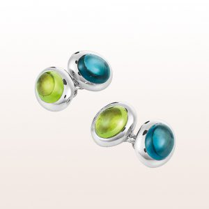Cufflinks with topaz and peridot cabochons in 18kt white gold
