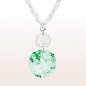 Anhänger mit grüner und weißer Jade und Diamanten in 18kt Weißgold