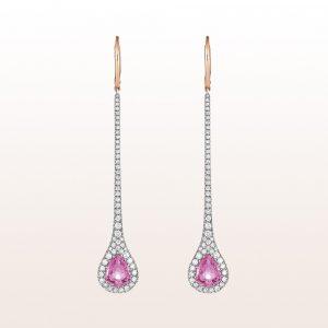 Ohrgehänge mit rosa Saphire 4,47ct und Brillanten 1,56ct in 18kt Weiß- und Roségold