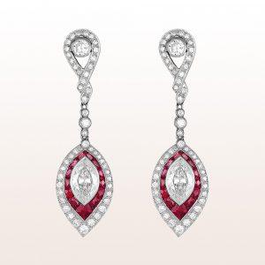 Ohrgehänge mit Rubinen 1,70ct und Diamanten in Platin