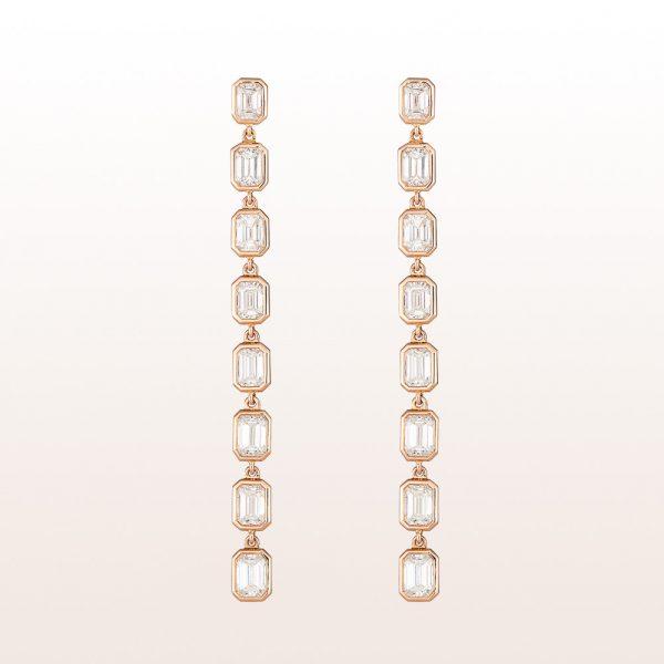 Ohrgehänge mit Baguette-Diamanten 4,74ct in 18kt Roségold