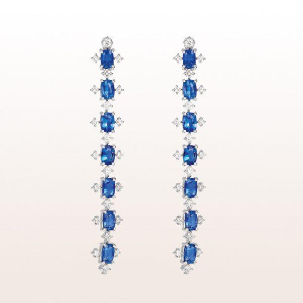 Ohrgehänge mit Saphiren 9,87ct und Diamanten 2,05ct in Platin